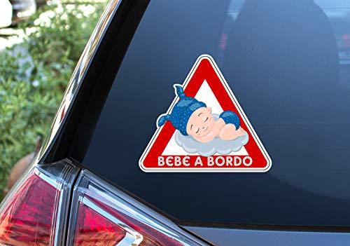 Pegatina Vinilo Bebe a Bordo, Baby on Board, Nube. Adhesivo vinilo para coche. (Niño 16x18cm)