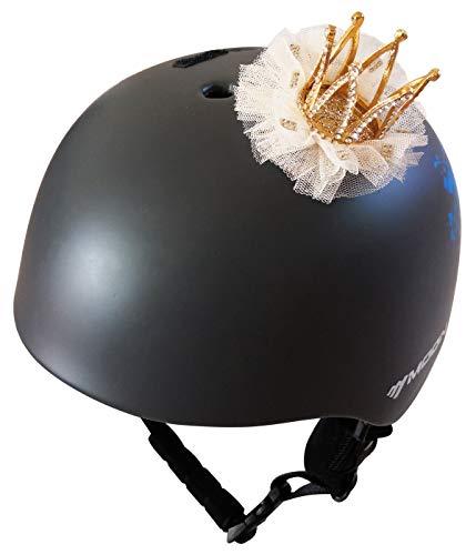3T-SISTER helm kroon kristal gouden kroon met kant voor skihelm fietshelm motorhelm overal herbruikbaar klittenband ontwerp Kleur: wit