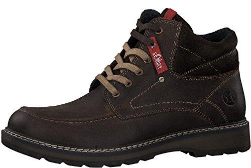 s.Oliver Herren Stiefel 15217-21,Männer Boots,Lederstiefel,Schnürstiefel,seitl. Reißverschluss,Coffee,EU 43