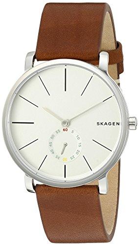 Skagen Men's Hagen Leather Watch, Color: Dark Brown, 20 (Model: SKW6273)