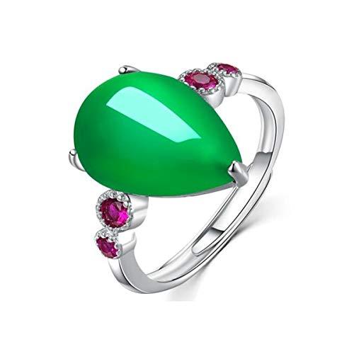 Anillo de plata de ley S925 para mujer, joyería de plata de jaspe a la moda y elegante, anillo con incrustaciones de circonita artificial, regalo para novias y parejas (color verde)