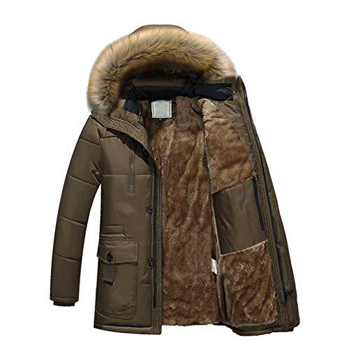MIRRAY Herren Winter Warm Hooded Zipper Dicker Fleece Mantel Baumwolle Gefütterte Jacke