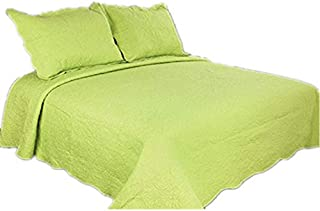 ALL FOR YOU 2-Piece Reversible Embroidered Bedspread/Coverlet/Quilt Set-Twin Size-Lime Green