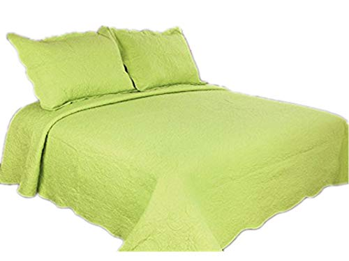 ALL FOR YOU 3-Piece Reversible Embroidered Bedspread/Coverlet/Quilt Set-King Size-Lime Green