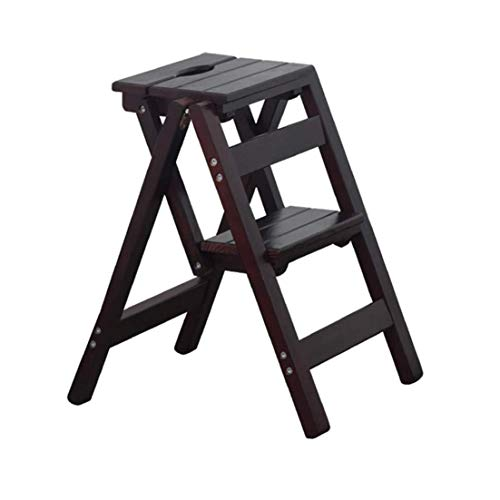 Jhgu Opklapbare houten ladder | 2 treden trapladder ladder | Veelzijdig opvouwbare kruk | trap voor keuken/kantoor/boekenkast | max. 150 kg, donkerbruin.