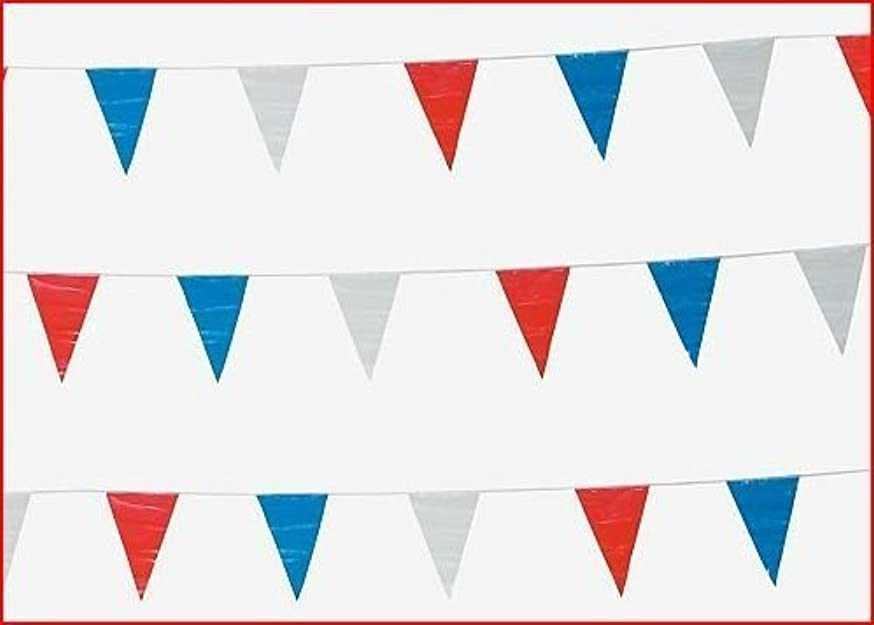 300 Foot Red, White And Blue Pennant Banner