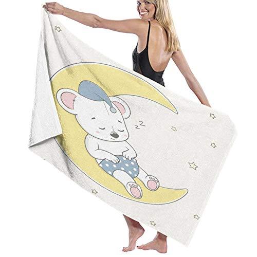 PATINISA Toalla de Playa de Microfibra,Dibujado a Mano Dibujos Animados Lindo bebé Oso durmiendo en la Luna,Toalla Deportiva Secado Rápido Absorbente para Deportes Viajes Playa Camping