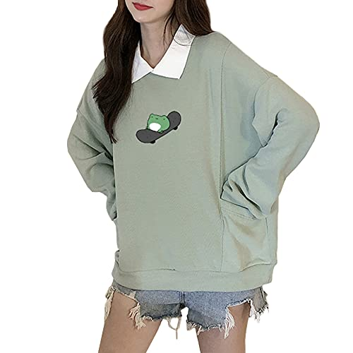여성용 귀여운 스웨터 스케이트 보드 개구리 그래픽 턴 다운 칼라 긴 소매 까마귀 풀 오버 탑스