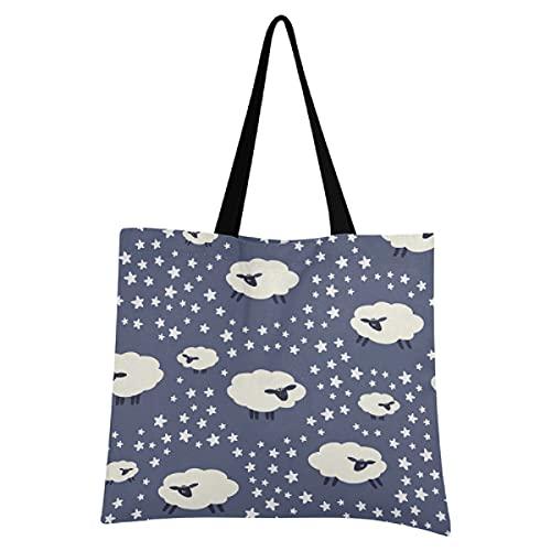 Livingsoft Animal Sheep Star - Bolsa de lona reutilizable con bolsillo con cremallera para mujeres y hombres