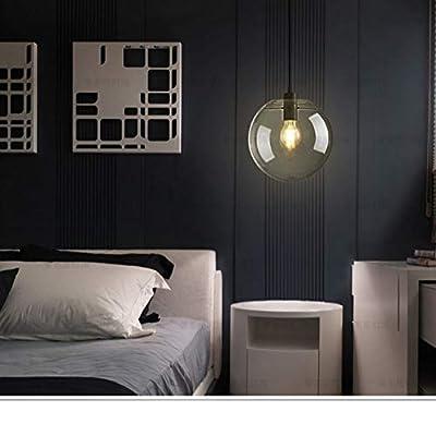HTDZDX E27 Industrial Chandelier Lighting Clear, Glass Globe Black Shade Pendant Light, Modern Kitchen Opening Hanging Lamp-1 Light (Size : 30cm)