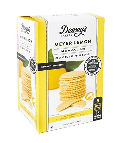 Dewey's Bakery Meyer Lemon Moravian Style Cookie Thins | Baked in Small Batches | Real, Simple Ingredients | Time-Honored Southern Bakery Recipe | 28 oz