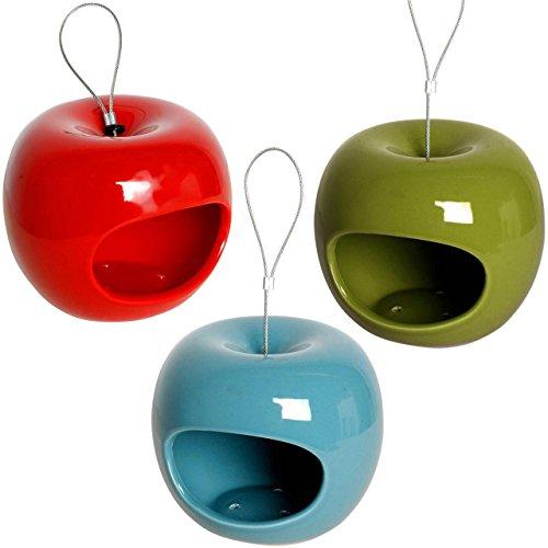 Edle Design-Futterspender in Apfelform im 3er-Set, Futterstationen in drei Farben, Ø 14 x 12 cm, Keramik