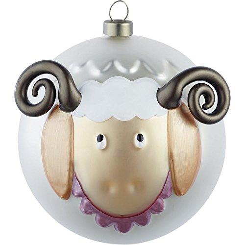 Alessi Amj13 12 Pecorello Boule de Noël en Verre Soufflé, decorée à la Main, Set de 4 Pièces