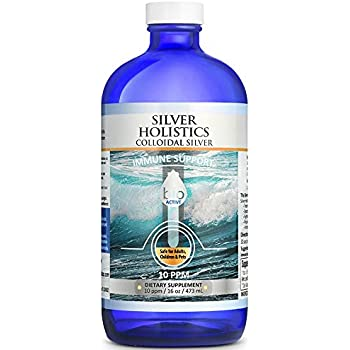 Silver Holistics | Colloidal Silver Liquid | Natural Immune System Booster | Pure 10 PPM Ionic Silver Water | Daily Mineral Supplement | 16 oz. Glass Bottle | Safe for Pets