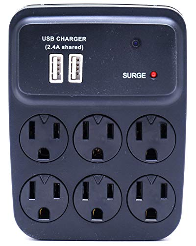 New Six-Plug Wall Outlet with USB Ports Hidden Surveillance Nanny Camera - WiFi Streaming - Black