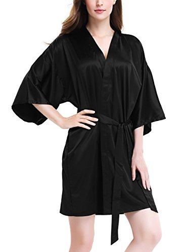 Genuwin Mujer Pijama Kimono Bata Corto, Satén Seda de Manga 3/4 de Aspecto Brillante Pijamas Albornozes Camison para Mujer, Suave, Cómodo, Sedoso y Agradable (L, Negro)