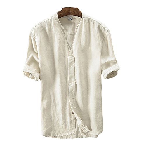 Icegrey Camicia Uomo Camicie di Lino a Maniche Corte con V Collo Estive Camicia Beige 44
