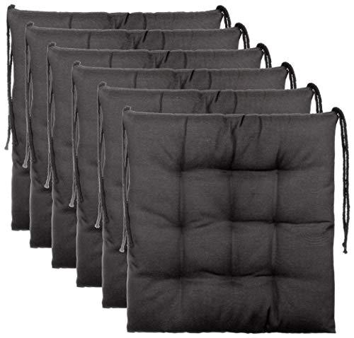 BrandssellerCojín decorativo de asiento para silla de jardín, 9 pespuntes, varios diseños, poliéster, antracita, 6er-Paket