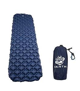 Wild Earth Ultra Ligero Hinchable colchoneta con Almohada, Saco de Dormir Partner, Sleeping Pad para Camping, Viajes, Exterior, Senderismo, Playa Azul Oscuro