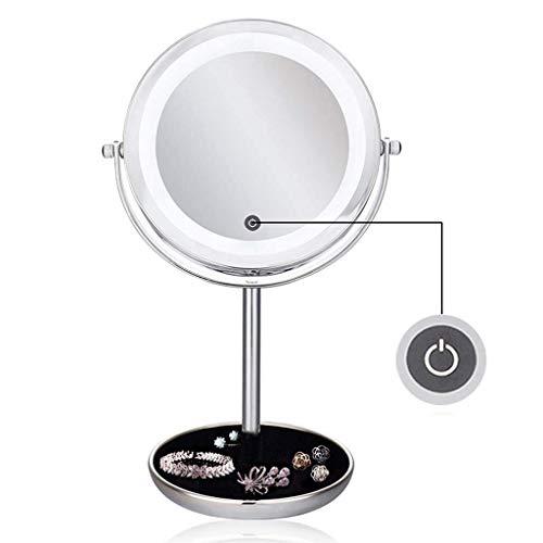 Rétroviseur intérieur compact 5x poche Miroirs de maquillage Miroir Magnified Lighted double face ronde grossissant Vanity, rasage Miroirs Miroir grossissant Miroirs avec des lumières 360 ° Miroir de