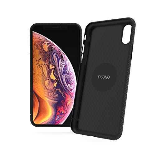 FILONO iPhone XS Max Carbon Hülle ultradünn, Kratzfest, schwarz-matt-chic