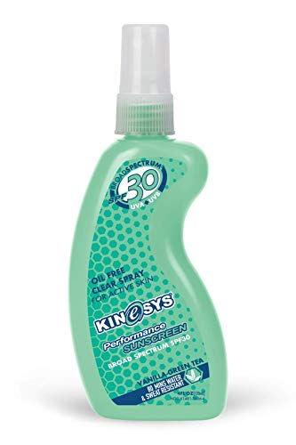 KINeSYS SPF 30 Vanilla-Green Tea Scent Spray Sunscreen | Vegan, Hypoallergenic | Oil, Alcohol, Oxybenzone & Preservative FREE | Sport Performance for Face & Body | Family Size, 700+ Sprays - 4oz