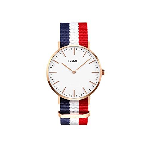 iWatch Hombre Mujer Reloj De Pulsera 30m Resistente al agua analógico de cuarzo Casual reloj con azul blanco rojo textil pulsera