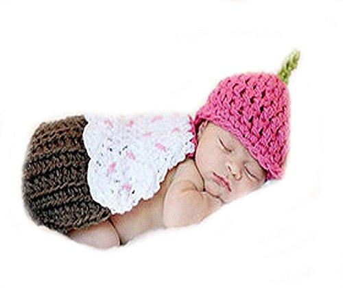 Unbekannt Baby Fotos Häkelkostüm Strick Kostüm Fotoshooting Erdbeere Braun Pink 3-6M