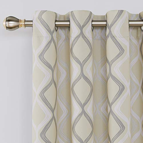 Deconovo Trellis Printed Blackout Curtain with Grommet Top Room Darkeing Curtains for Bedroom 52W x 54L Inch Beige White and Grey 2 Panels