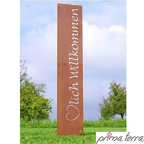 prima terra Herzlich Willkommen Gartenstele Edelrost Stele Dekoration Gartendekoration Deko Garten H=120cm B=20cm