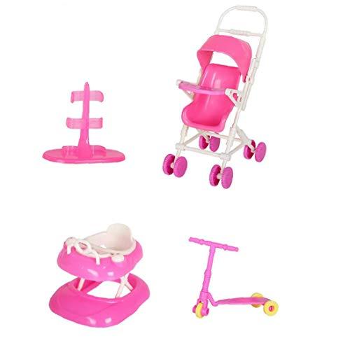 La Muñeca De Juguete Juego De Casa De Muñecas Accesorios con El Cochecito De Bebé Walker Vespa Muñeca Soporte para La Muñeca Toy Dolls