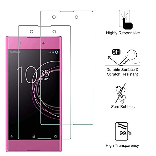 Siumir 2 Stück Tempered Glass Screen Protector für Sony Xperia XA1 Plus 5.5 Zoll 9H Festigkeit Bildschirmschutz Schutzfolie Anti-Kratzer, Blasenfrei