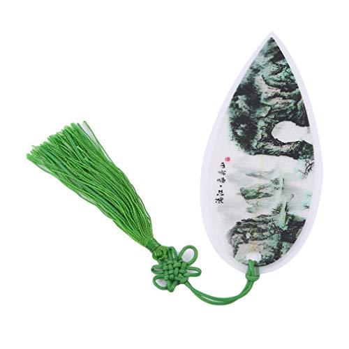 Yinew Blatt Lesezeichen Grüne Landschaft Klassischen Chinesischen Stil Quaste Ribbon Lesezeichen für Buch Papier lesen,Grün (mit chinesischem Knoten),Size