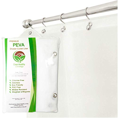Premium PEVA Frost Shower Curtain Liner with Magnets &...