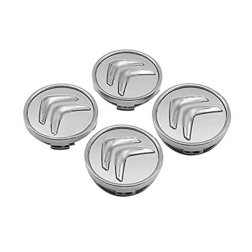 XCBW 4PCS 60mm Buje de Rueda de Coche, ABS Car Hub Caps Logo Emblema de la Insignia, para C-itroen C2 C3 C4 C5 C1 Auto Hub Cover Accesorios,Plata