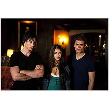 The Vampire Diaries  TV Series 2009 -   8 inch x 10 inch photograph Nina Dobrev Looking Tiny & Beautiful Between Ian Somerhalder Arms Crossed & Paul Wesley kn