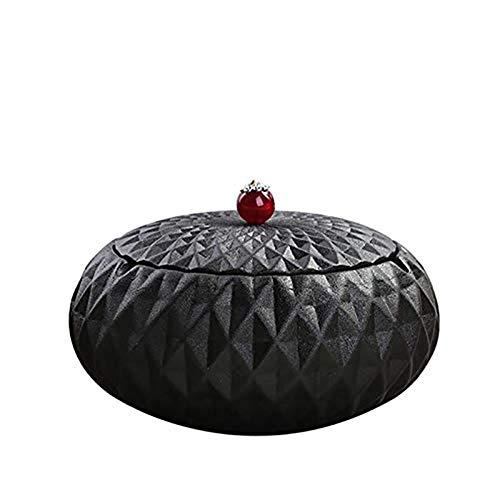 ZF Cenicero de cerámica de gres Negro con la Moda tamaño de la Tapa de la Personalidad Creativa Retro Oficina de la Sala de Estar de Moda Sencilla, Blackdiamond