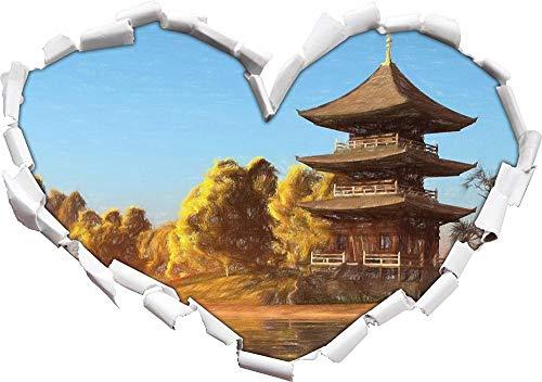 3D Pegatinas de pared espléndido templo asiático junto al lago arte efecto lápiz de color forma de corazón en apariencia 3D etiqueta de la pared o de la puerta etiqueta de la pared decoración 62x43cm