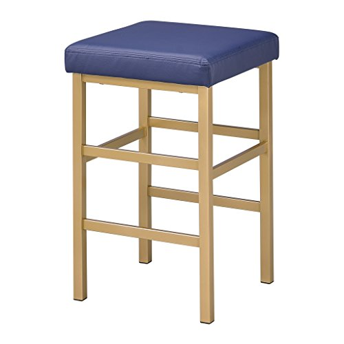 OSP Home Furnishings Backless Stool with Gold Frame, 26-Inch, Blue