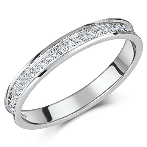 9ct White Gold Ring Channel Set Diamond Eternity 0.15ct Ring 'SALE' (Q)