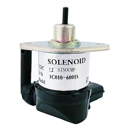 1C010-60015 1C010-60016 solénoïde d'arrêt 12V - SINOCMP Arrêt solénoïde pour Kubota M105S M105X M6800 M8200 M8540 M9000 M9540 M95S M95X M96,3 mois de garantie