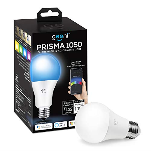 Geeni PRISMA 1050 Wi-Fi LED Light Bulb, Multicolor (2700K) – Dimmable LED Bulbs, A21, 75-Watt Equivalent – No Hub Required – Works with Amazon Alexa, Google Assistant