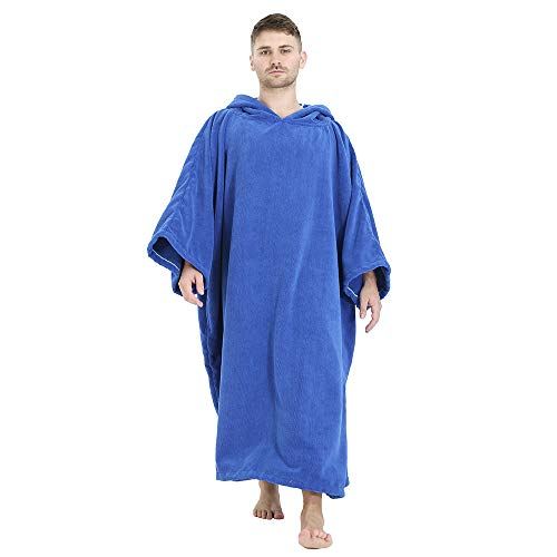 Winthome Albornoz cambiador, toalla de surf poncho con capucha (azul clásico, XL)