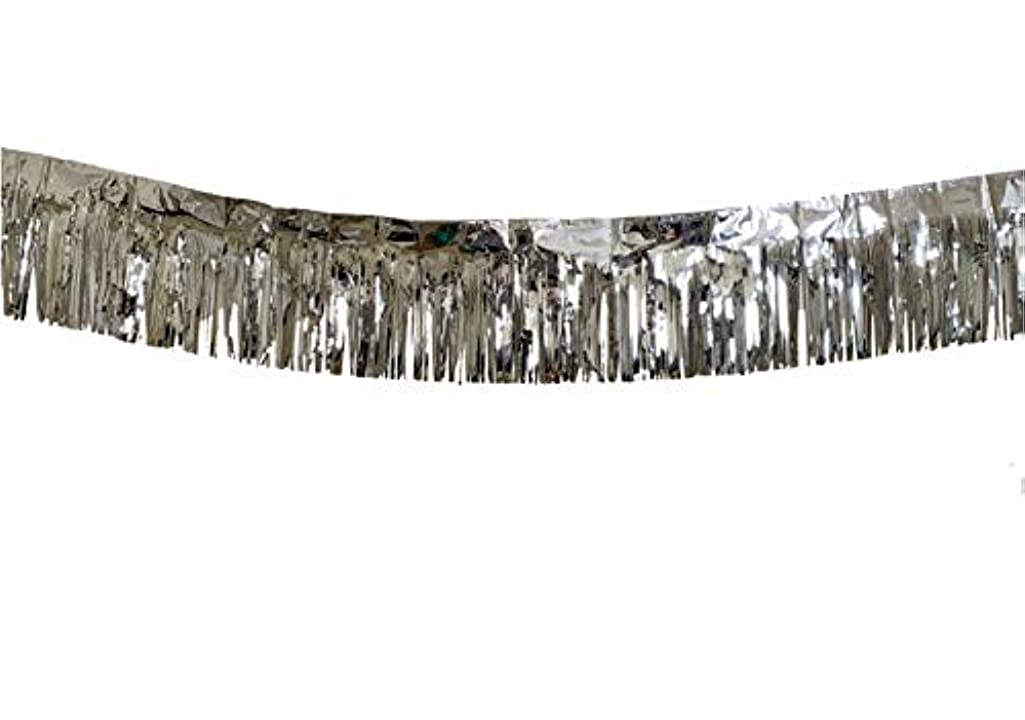3 Pack | Silver Metallic Foil Tinsel Fringe Garland | Long Banner | 9 feet by 12 inches | for Parties, Wedding Decor, Birthdays, Holiday Decorations and Much More