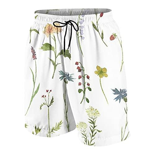 De Los Hombres Casual Pantalones Cortos,Temporada de primavera floral Acuarelas temáticas Pintura de hierbas Flores Jardín Botánico Obra de arte,Traje de Baño Playa Ropa de Deporte con Forro de Malla