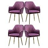WYBW Juego de 4 sillas de comedor, de terciopelo, tapizadas para cocina, restaurante, sala de estar, color morado