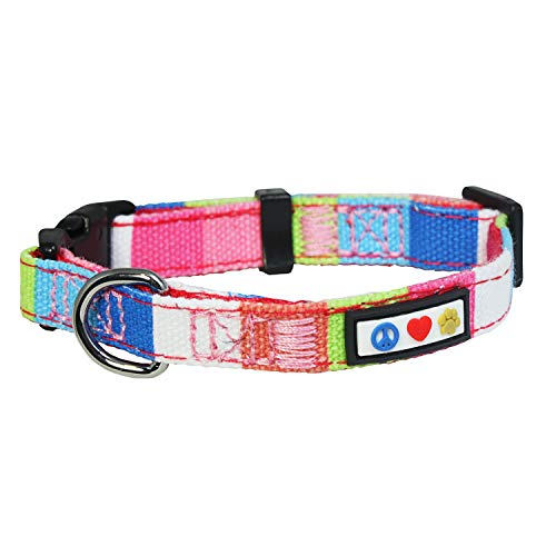 PAWTITAS mehrfarbiges Hunde-Halsband Welpen-Halsband Haustier-Halsband Trainings-Halsband klein Hunde-Halsband Rosa/Weiß/Türkis/Grün Hunde-Halsband