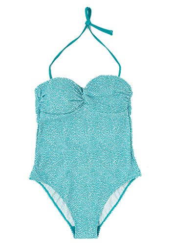 TEX - Bañador Bandeau Estampado para Mujer, Verde Claro, 38