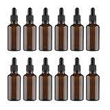 Lurrose 12 botellas de aceite esencial de vidrio vacías botellas de ámbar de aceite esencial botellas líquidas con cuentagotas, Brown (Marrón) - 6T17OBR7D02QCV09LM1T
