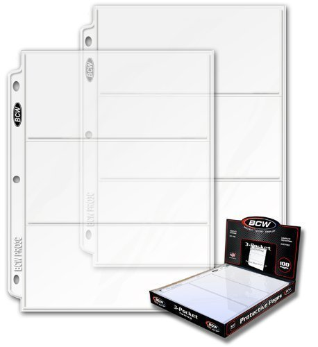 10 Ct. BCW PRO3C 3 Pocket Pages for Large Bills